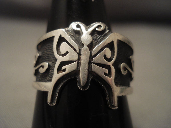 Famous Artist Vintage Hopi signature Design Native American Jewelry Silver Ring Old Vtg