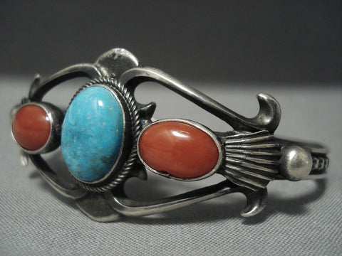 Famous Vintage Navajo Morgan Domed Coral Turquoise Sterling Native American Jewelry Silver Bracelet-Nativo Arts