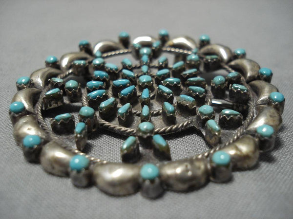 Fanbulous Vintage Native American Navajo Turquoise Snake Eye Sterling Silver Pin Pendant Old-Nativo Arts