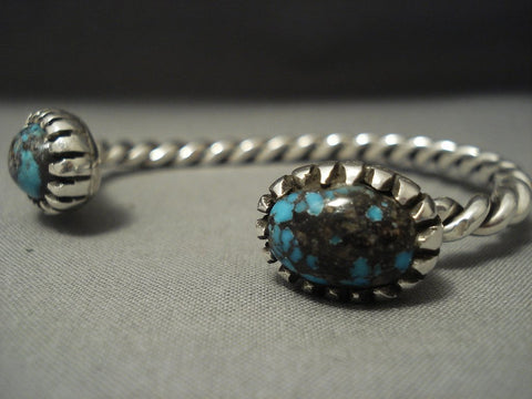 Fascinating Vintage Navajo Domed Turquoise Sterling Native American Jewelry Silver Bracelet-Nativo Arts