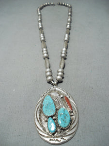 Signed Vintage Native American Zuni Blue Gem Turquoise Coral Sterling Silver Necklace