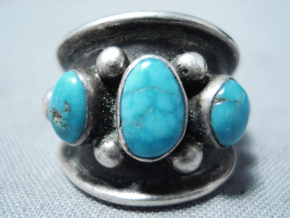 Incredible Vintage Native American Navajo Carico Lake Turquoise Sterling Silver Ring Old