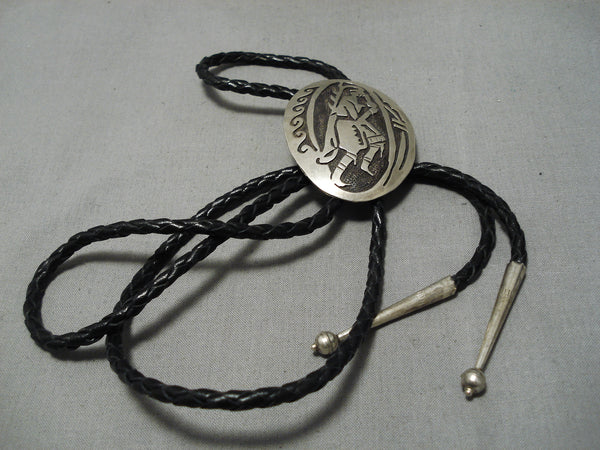Incredible Vintage Hopi Native American Sterling Silver Bolo Tie