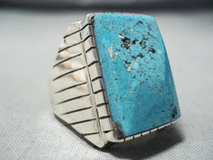 Monumental Navajo Kingman Turquoise Sterling Silver Ring Native American
