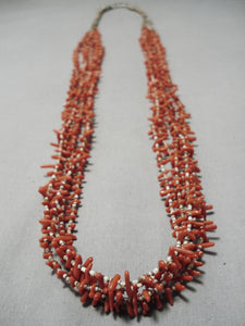 Huge Longer Vintage Native American Navajo Coral Heishi Authentic Sterling Silver Necklace Old