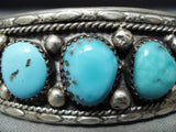 Exceptional Native American Navajo Kingman Turquoise Sterling Silver Bracelet