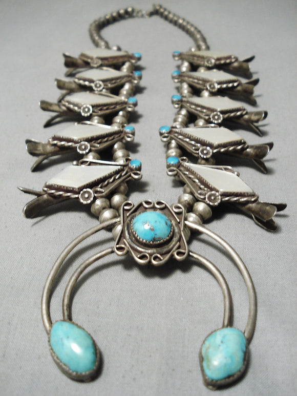 Pretty Vintage Native American Navajo Turquoise Pearl Sterling Silver Squash Blossom Necklace