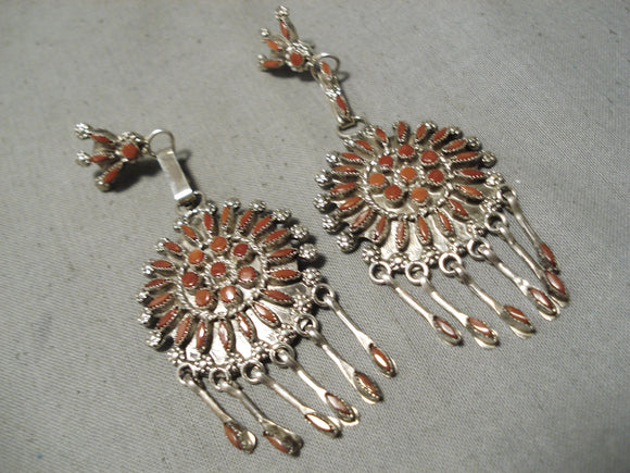 Fabulous Vintage Native American Zuni Coral Needlepoint Sterling Silver Earrings