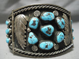One Of The Best Vintage Native American Navajo Bisbee Turquoise Sterling Silver Link Bracelet