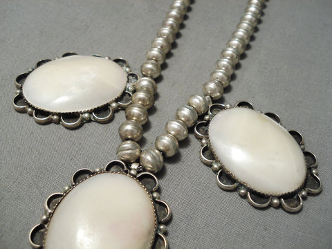 Superior Vintage Native American Navajo Domed Pearl Sterling Silver Necklace