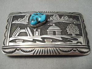 Authentic Vintage Native American Navajo Thomas Singer Turquoise Sterling Silver Buckle
