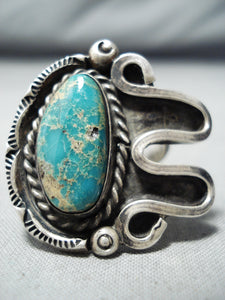 Rare Vintage Navajo Native American Royston Turquoise Sterling Silver Ring Old