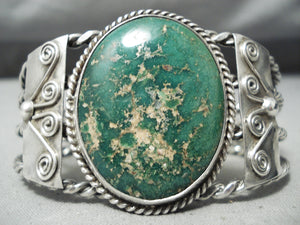 Early Coiled Vintage Native American Navajo Royston Turquoise Sterling Silver Bracelet Old