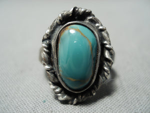 Early Vintage Native American Navajo Royston Turquoise Sterling Silver Ring