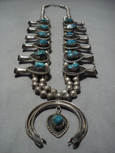 Magnificent Vintage Native American Navajo Sterling Silver Squash Blossom Necklace Old