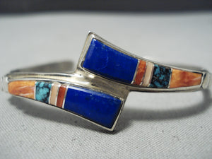 Focused Detail! Vintage Native American Navajo Turquoise Lapis Sterling Silver Inlay Bracelet
