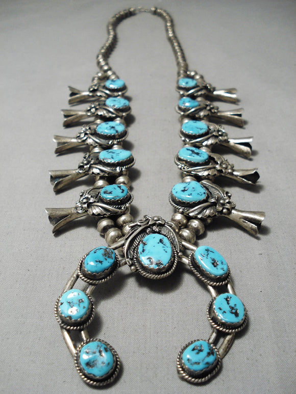 Authentic Vintage Native American Navajo Turquoise Sterling Silver Squash Blossom Necklace