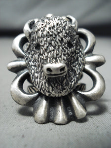 Spectacular Mongo Native American Navajo Sterling Silver Buffalo Ring