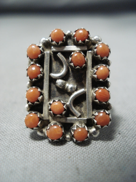 Breathtaking Vintage Navajo Native American Coral Sterling Silver Ring