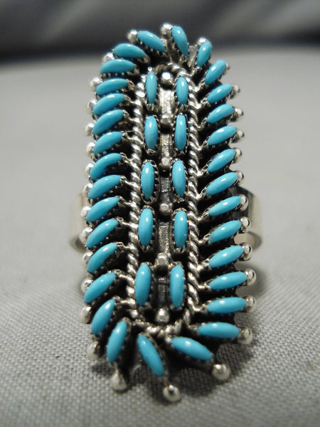 Marvelous Vintage Zuni Native American Turquoise Snake Eyes Sterling Silver Ring