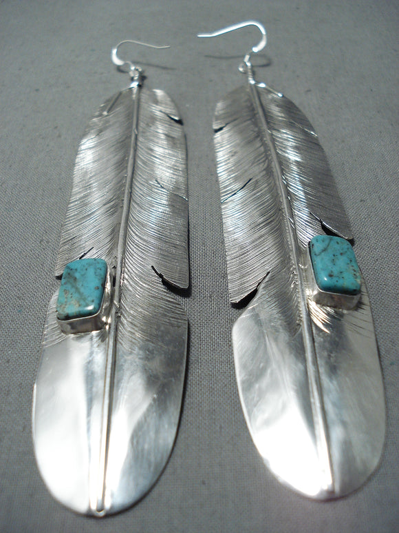 Monumental Navajo Royston Turquoise Sterling Silver Earrings Native American