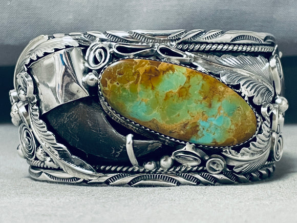 Incredibly Intricate Native American Navajo Royston Turquoise Sterling Silver Bracelet