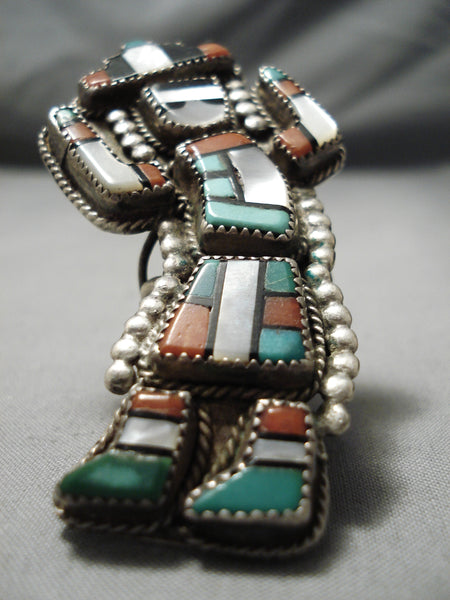 Biggest Best Vintage Native American Zuni Authentic Turquoise Sterling Silver Ring Old