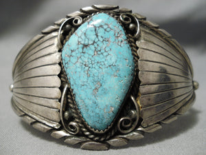 Superior Vintage Native American Navajo Spiderweb Turquoise Sterling Silver Bracelet Old Cuff