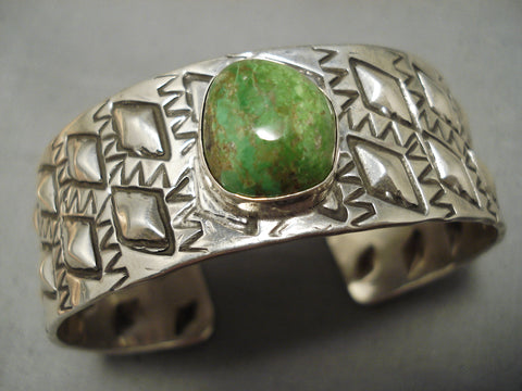 Museum Vintage Native American Navajo Repoussed Sterling Silver Royston Turquoise Bracelet