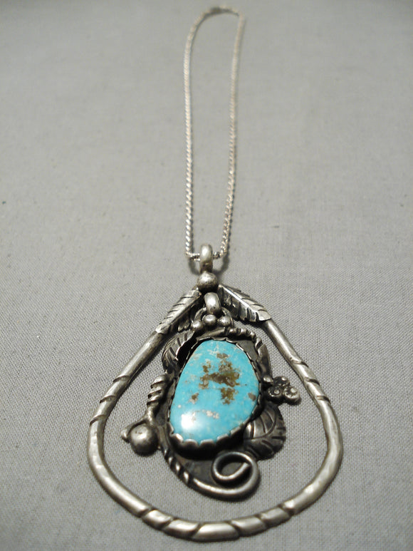 Marvelous Vintage Native American Navajo Turquoise Teardrop Sterling Silver Necklace Old