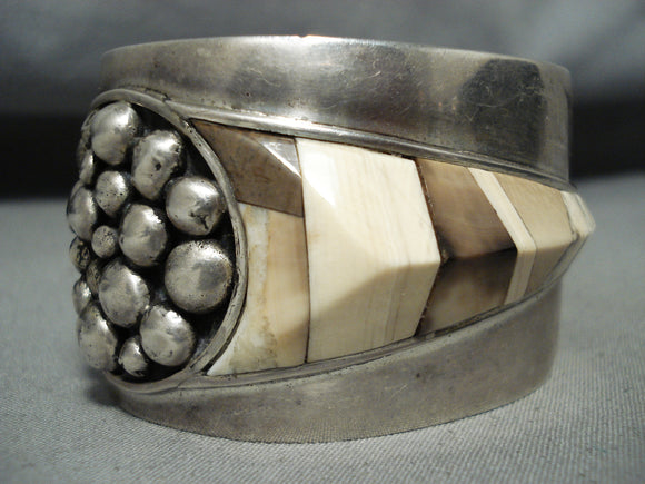Detailed Signed Vintage Native American Navajo Sterling Silver Bracelet