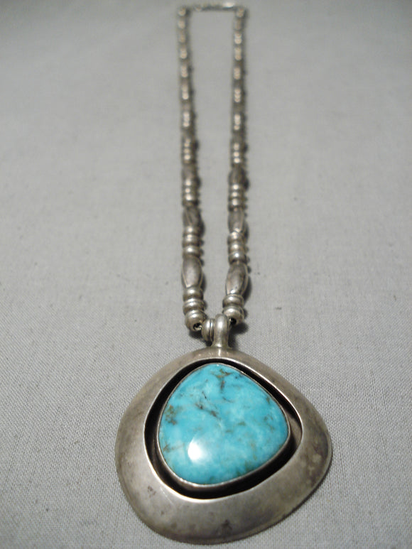 Stunning Vintage Native American Navajo Carico Lake Turquoise Sterling Silver Necklace Old