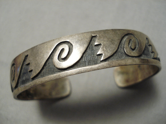 Incredible Vintage Native American Navajo Sterling Silver Water Wave Bracelet Old