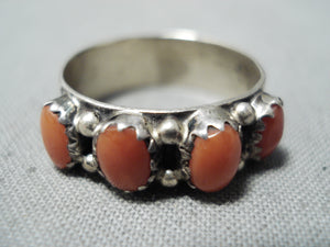 Beautiful Navajo Coral Sterling Silver Ring Native American