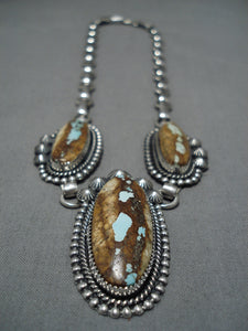 Important Jeanette Dale Sterling Silver Native American Navajo #8 Turquoise Necklace