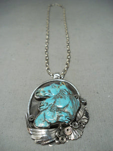 Native American Important Francisco Gomez Triple Horse Turquoise Sterling Silver Necklace