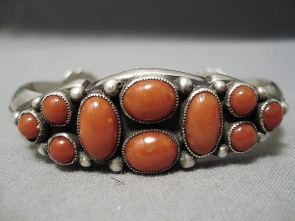 Important Vintage Native American Navajo Cal Martinez Coral Sterling Silver Repoussed Bracelet