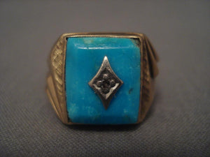 Fine Vintage Navajo Native American Jewelry jewelry Turquoise Diamond Real Gold Ring-Nativo Arts