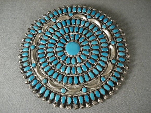 Five Inch Wide Massive Turquoise Vintage Navajo Native American Jewelry Silver Pin-Nativo Arts