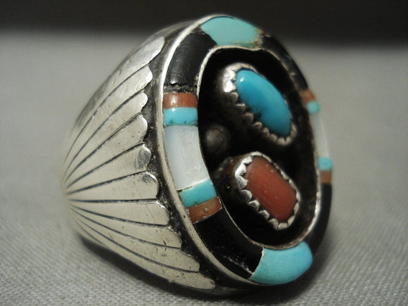 Flares And Inlay Huge Vintage Navajo Turquoise Coral Native American Jewelry Silver Ring-Nativo Arts