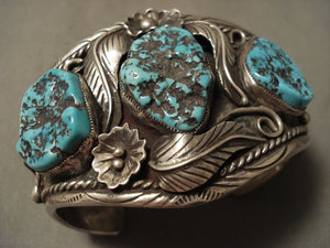 Floral Fountain Vintage Navajo Turquoise Native American Jewelry Silver Bracelet Old-Nativo Arts