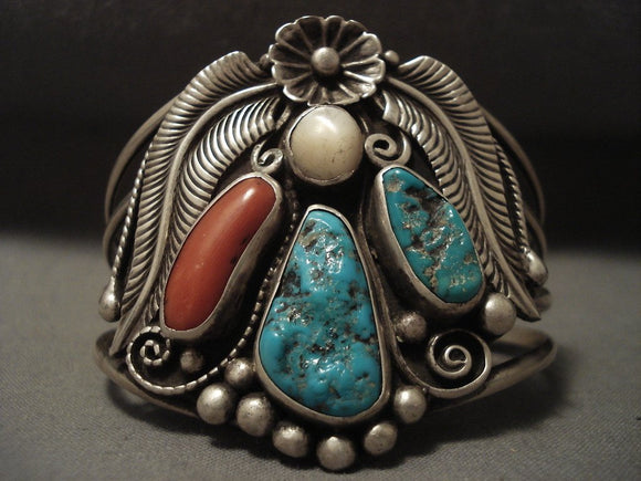 Floral Love Vintage Navajo Turquoise Coral Native American Jewelry Silver Bracelet-Nativo Arts