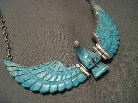 Flying Moveable Wings Vintage Navajo Eagle Native American Jewelry Silver Necklace-Nativo Arts