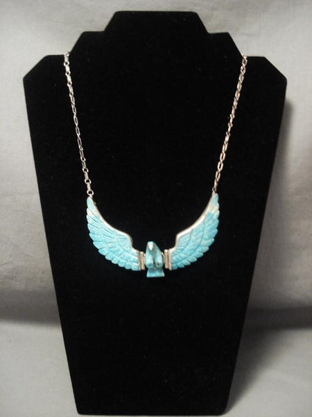 Flying Moveable Wings Vintage Navajo Eagle Native American Jewelry Silver Necklace