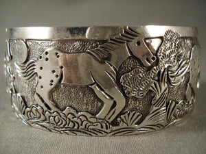 Galloping Horse extra Detail Native American Jewelry Silver Navajo Bracelet-Nativo Arts
