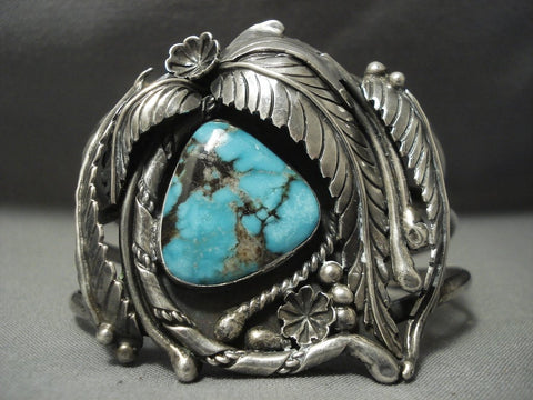 Garden Of Leaves Nevada Turquoise Vintage Navajo Sterling Native American Jewelry Silver Bracelet-Nativo Arts