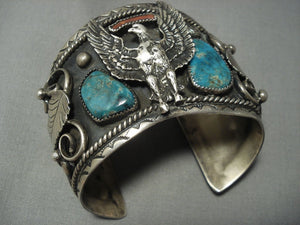 Gargantuan!! Vintage Navajo Sterling Native American Jewelry Silver Eagle Turquoise Bracelet-Nativo Arts