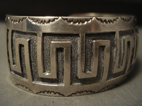 Geometric Snake Amazing Quality Vintage Navajo Sterling Native American Jewelry Silver Bracelet-Nativo Arts