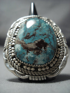 Giant! Navajo Green Turquoise Sterling Native American Jewelry Silver Ring Native American Jewelry-Nativo Arts