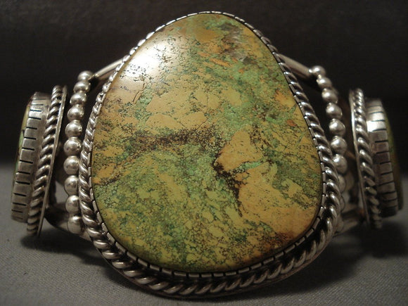 Giant Vintage Navajo Natural Gaspeite Native American Jewelry Silver Bracelet-Nativo Arts